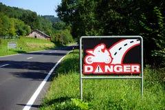 Road sign danger. For motorbike Royalty Free Stock Image