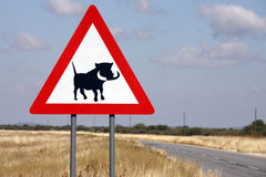 Road sign - Danger Wathogs - Namibia Stock Photo
