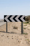 Dangerous curve. Road sign about dangerous curve on a way through the Negev desert,Israel stock photography