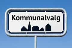 Road sign with danish text Danish municipalities elections royalty free stock photos