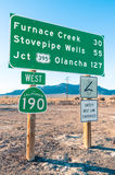 Road sign in the Death Valley - Highway West 190 Royalty Free Stock Photo