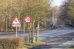 Road sign deer ahead Royalty Free Stock Photography