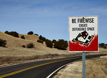 Road Sign for defensible space Royalty Free Stock Photography