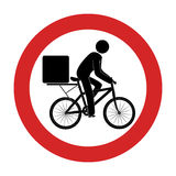 Road sign with delivery man in bike Royalty Free Stock Image