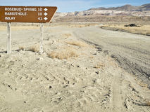 Road sign in the desert at Sulphur, Nevada Royalty Free Stock Photography