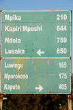 Road sign, direction to different places, Zambia. Road sign, direction to different places (Zambia Stock Photography