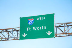 Road sign with the direction to Fort Worth. Texas stock photography