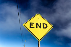 Road Sign Displaying End. Of Road is Near Stock Photo