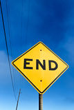 Road Sign Displaying End. Vertical Road Sign Displaying End Stock Photos