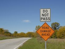 Road Sign Do Not Pass Royalty Free Stock Photography