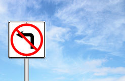 Road sign don't turn left Royalty Free Stock Image