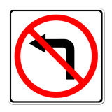 Road sign don't turn left Royalty Free Stock Photo