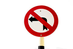Road sign don't turn left on white background Royalty Free Stock Image