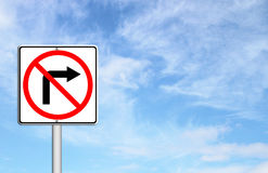 Road sign don't turn right. Over blue sky blank for text Stock Image