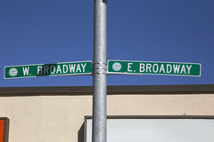 Road sign for East and West Broway, South Boston, Massachusetts, USA Stock Image