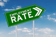 Road sign with employment rate text Stock Images