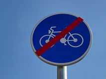 Road sign end bicycle path Stock Images