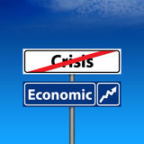 Road Sign The end of crisis, economic recovery Stock Photography
