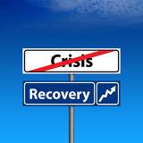 Road Sign The end of crisis, economic recovery. The Road Sign The end of crisis, economic recovery Stock Photos