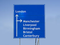 Road sign England. Road sign with different cities in England royalty free stock photos