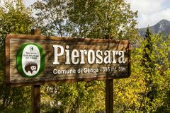 Road sign entering Pierosara, little village near Genga and Frasassi. A view of Pierosara, little village near Genga and beautyful Frasassi caves Stock Photos