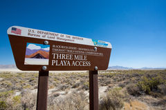 Road sign at the entrance of la Playa in the Black Rock desert Royalty Free Stock Image