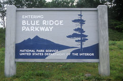Road sign at the entrance to the Blue Ridge Parkway, Blue Ridge Mountains, VA Royalty Free Stock Images