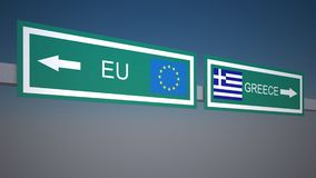 A road sign with EU and Greece directions Royalty Free Stock Photos