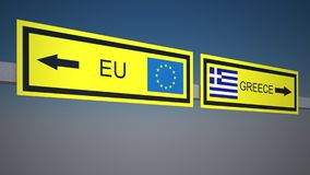 A road sign with EU and Greece directions  on sky background Royalty Free Stock Photo