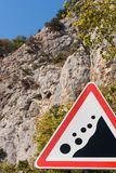 Road sign falling stones Stock Images