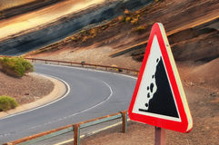 Road sign falling stones, Tenerife, Canary Stock Photo