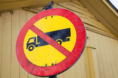 Road sign 313 in Finland. No heavy goods vehicles Stock Photo