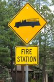 Road sign for a Fire Station royalty free stock image