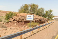 Road sign for Fish River in Namibia Royalty Free Stock Images