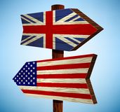 Road sign. With the flag of america and Britain Stock Photos