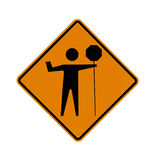 Road sign - flagman Stock Images