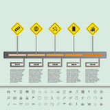 Road sign flat timeline with set of icons Stock Image