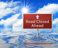 Road Sign in Flooded Area Royalty Free Stock Photo