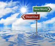 Road Sign in Flooded Area. Dead End & New World Road Sign in Flooded Area Stock Images