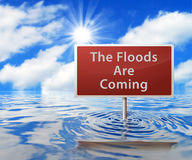 Road Sign in Flooded Area Stock Photos