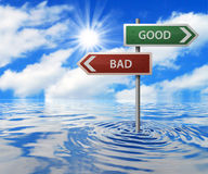 Road Sign in Flooded Area. Good & Bad Road Sign in Flooded Area Royalty Free Stock Images