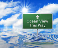 Road Sign in Flooded Area Royalty Free Stock Photography