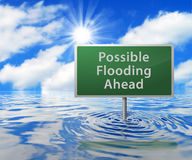 Road Sign in Flooded Area Stock Photo