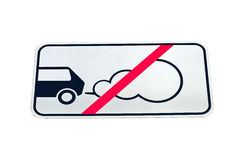 Road sign forbidding parking of cars with the working engine Royalty Free Stock Photography