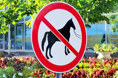Road sign forbidding a parking of horses Royalty Free Stock Photo