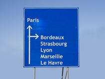 Road sign France. Road sign with different cities in France Royalty Free Stock Photo