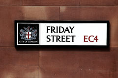 Road sign Friday Street in London Royalty Free Stock Photo