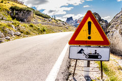 Road sign in Gardena Pass road, Italy Royalty Free Stock Photography