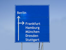 Road sign Germany. Road sign with different cities in Germany royalty free stock photos