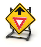 Road sign - give way ahead Royalty Free Stock Photography